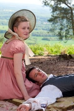 Picnic at Box Hill: Romola Garai (Emma Woodhouse) & Rupert Evans (Frank Churchill) - Emma directed by Jim O'Hanlon (TV Mini-Series, 2009) #janeausten