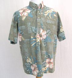 Reyn Spooner Hawaiian Shirt Large Reverse Print Tiki Totem Floral Hibiscus Aloha #ReynSpooner #Hawaiian