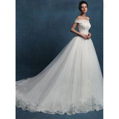 New Arrival 2016 Wedding Dresses Off The Shoulder Appliqued Lace Tulle Bride Dresses Ball Gowns