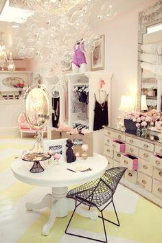 faire frou frou lingerie boutique girly feminine interior design bubble chandelier - love the dresser with pink accent Dressing Room Closet, Dressing Rooms, Dressing Area, Dressing Table, Bubble Chandelier, Diy Chandelier, Chandelier Design, Decoration Inspiration, Design Inspiration