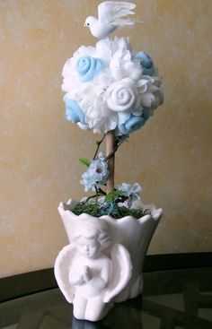 Baptism Baby Boy Topiary, Baby Blessing Topiary, Baptism/Christening Centerpiece, Baby Christening Topiary, Baptism/Christening  Decoration by VioletCreationz on Etsy https://www.etsy.com/listing/182472350/baptism-baby-boy-topiary-baby-blessing