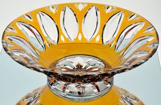 """Vintage Bohemian German Amber Gold Cut to Clear Crystal Footed Bowl 11"""""""