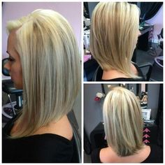 long angled bob before and after - Google Search