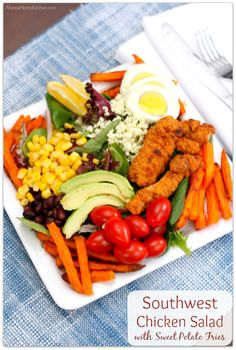 Southwest Chicken Salad with Sweet Potato Fries #FarmToFlavorRecipes with NATURERAISED FARMS® AND ALEXIA® FARM TO FLAVOR FAMILY RECIPES AT TARGET AD   Mama Harris' Kitchen