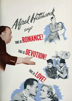 """Magazine advertisement for """"Mr. & Mrs. Smith"""" (1941) showing director Alfred Hitchcock (1899-1980) and stars Carole Lombard (1908-1942) and Robert Montgomery (1904-1981), from """"Motion Picture Herald"""", February 1941"""