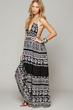 Printed Triangle Top Maxi Dress from Free People | 10 Best Summer Hostess Dresses | Camille Styles