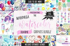 Big Watercolor Fun Graphics Bundle by Clipart Brat Graphics on @creativemarket