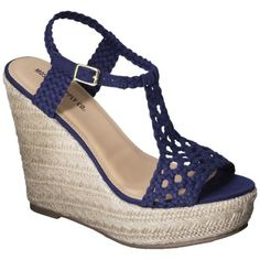 Women's Mossimo Supply Co. Waneta Macramé Wedge Sandal - Blue