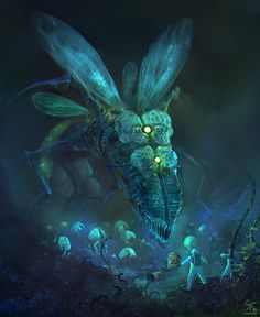 Art featuring humanoids and creatures from alien worlds. Fantasy Creatures, Mythical Creatures, Sea Creatures, Fantasy Girl, Dark Fantasy, Alien Worlds, Mad Science, Creepy, Beast