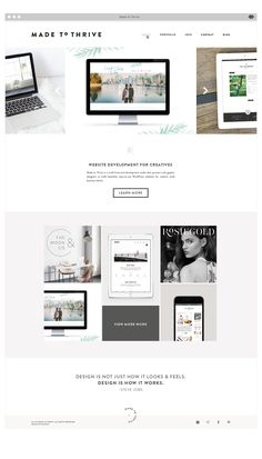 Branding and website design for Made to Thrive, a small front-end development studio that partners with graphic designers to build beautiful, easy-to-use WordPress websites for creative small business clients.