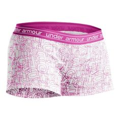 Women's Under Armour Mesh Boy Short Underwear Bottoms - White/Pink S $19.99