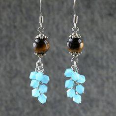 Tiger's eye teal crystal glass chandelier earrings handmade ani designs