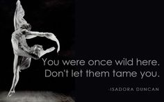 You were once wild here. Don't let them tame you. ~Isadora Duncan