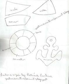 Feito a mão by Patricia Cristina: molde: barquinho, ancora e boia em e.v.a