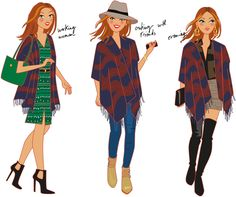 illustration-mode-poncho Spring Looks, Fashion Beauty, Fashion Tips, Mode Outfits, Diva, Dressing, Style Inspiration, Couture, My Style