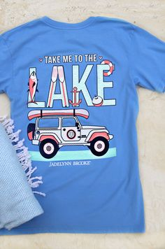 Take Me To The Lake - Short Sleeve - V Neck Color: Periwinkle 100% pre-shrunk, ringspun pigment-dyed cotton Jade is wearing size MEDIUM.