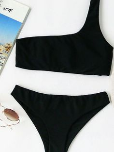 One Shoulder Bikini Set Material: Polyester Color: Black Top: Push Up Style: Sexy, Vacation Type: Bikinis Chest pad: NO Bust(cm): S:66-76cm, M:70-80cm, L:74-84c