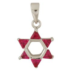 Rhodium Plated Red Stone Star of David Pendant