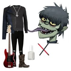 """Gorillaz Murdoc Niccals Inspired"" by eller-alex ❤ liked on Polyvore featuring J Brand, ONLY, Rock 'N Rose, Essie, MAC Cosmetics, NARS Cosmetics and Report"