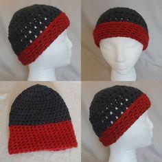 Beanie Crochet - Black & Red by BowsysBoutique http://etsy.me/2eRfaFk #chunkybeanie #madewithlove #chunkycrochet