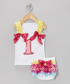 Take a look at this White '1' Ribbon Tank & Ruffle Diaper Cover - Infant by Baby Gem by Royal Gem Clothing on #zulily today!