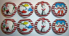 Handmade Red Stripe Dr Seuss Dresser Drawer Knobs  by whimzicality, $18.99