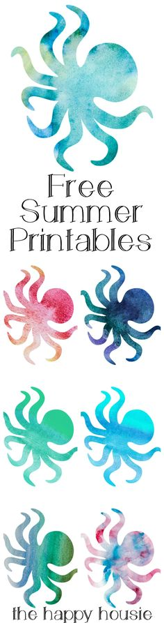 Watercolour Octopus Free Summer Printables - The Happy Housie