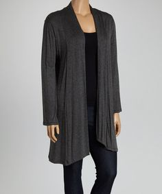 Loving this Charcoal Open Cardigan - Plus on #zulily! #zulilyfinds