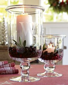 Williams-Sonoma Classic Glass Hurricane with Monogram-copycat with Silhouette and frosted spray paint!