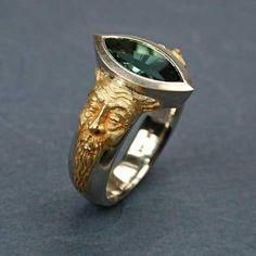 Gargoyle Series - East Meets West: Kim Eric Lilot: Gold, Palladium, & Stone Ring | Artful Home