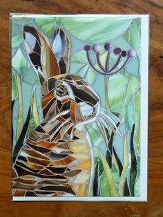 Hare Mosaic Card Rabbit Bunny Mosaic Mosaic Art door LAMosaicGifts