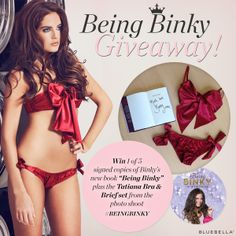 It's day 2 of our #BeingBinky giveaway... could you be today's lucky winner?  To enter, simply share this image here on Pinterest. Facebook: goo.gl/MdfRCP Twitter: goo.gl/kxF0Fb Google+: goo.gl/lxvZVa  Remember, each social share = 1 entry and we will be picking a winner every day until Friday! #BinkyFelstead #Lingerie #Competition