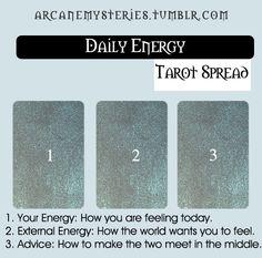 Daily Energy Spread. Tarot Tips http://arcanemysteries.tumblr.com/