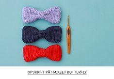 Gratis opskrift på hæklet butterfly fra Yarnfreak.dk