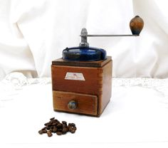 Vintage French Peugeot Fréres Blue Colored Metal and Wooden Coffee Grinder, French Kitchenware Decor, Kitchenalia, Retro Home, Kitchen by VintageDecorFrancais on Etsy