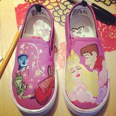 I know you, I've walked with you once upon a dream! Handpainted custom shoes!  Sleeping Beauty!!!!