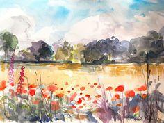 Signed Original Watercolour -Poppy Field - by Annabel Burton #ContemporaryArt