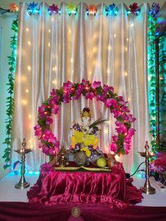 Diy Diwali Decorations, Home Wedding Decorations, Backdrop Decorations, Festival Decorations, Flower Decorations, Flower Decoration For Ganpati, Eco Friendly Ganpati Decoration, Ganpati Decoration Design, Ganesh Chaturthi Decoration