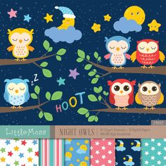 Night Owls Digital Clipart and Papers by LittleMoss on Etsy