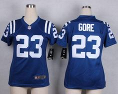 """$23.88 at """"MaryJersey""""(maryjerseyelway@gmail.com) Nike Colts 23 Frank Gore Royal Blue Team Color Women Stitched NFL Elite Jersey"""
