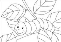 Caterpillar - Coloring Template for preschool and kindergarten kids. From www.kigaportal.com