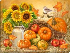 Shop Home Goods Made in America Autumn Painting, Autumn Art, Bountiful Harvest, Fall Harvest, Fall Clip Art, Illustration Blume, Autumn Scenes, Pumpkin Art, Vintage Christmas