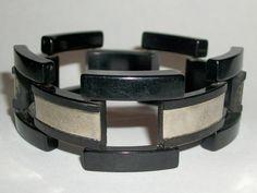 ART DECO 30s BLK LICORICE Vtg BaKeLiTe & METAL GATE LEG Links Bracelet #HingedClamper