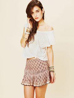 Free People FP ONE Printed Shine Mini Skirt, $68.00