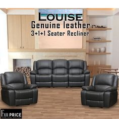 The Louise recliners are one of the best available from our collection. These are crafted with Genuine Leather. the ultra-cushioned seats give you the ultimate comfort. The reinforced stitching ensures the better quality.