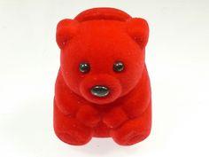 Adorable Red Velvet Teddy Bear Jewellery Gift Box Ring Earring Pendant Charm