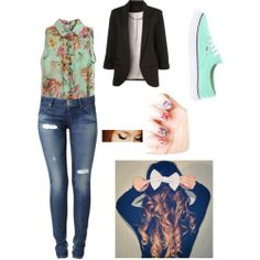 Polyvore Outfits for School | Flower outfit for school - Polyvore
