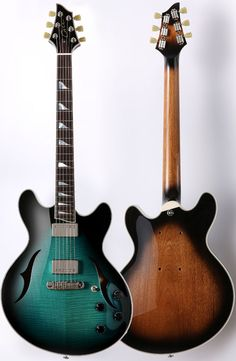 Jon Case Guitars, J25 semi-hollow --- https://www.pinterest.com/lardyfatboy/