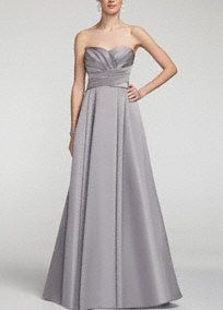 Elegant and timeless, thissatin number will look fabulous on your bridesmaids!  Strapless dress features stunning and ultra-flattering pleated bodice.  Full long skirt with pockets adds drama and helps create a sleek silhouette.  Fully lined. Back zip. Imported polyester. Dry clean.