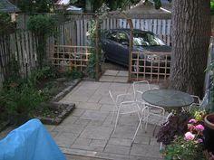 Paved backyard with greenery